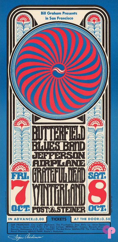 Class Winterland Poster Featuring Butterfield Blues Band Jefferson Airplane And The Grateful Vintage Concert Posters Grateful Dead Poster Psychedelic Poster