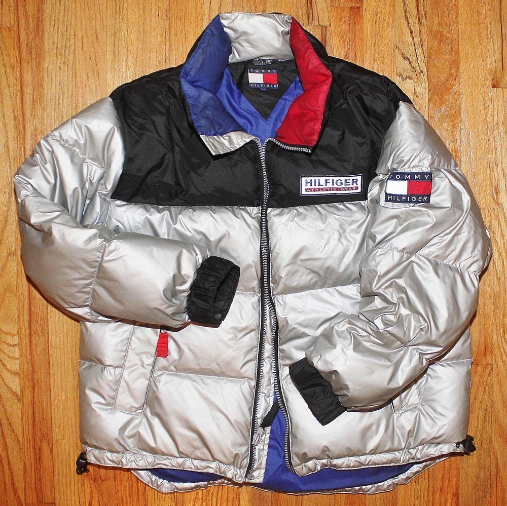 31fe7bfc7 VTG TOMMY HILFIGER ATHLETIC GEAR Silver GOOSE DOWN PUFFER COAT Jacket L