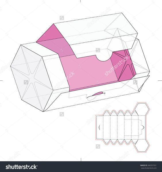 Image result for slanted rectangle package dieline