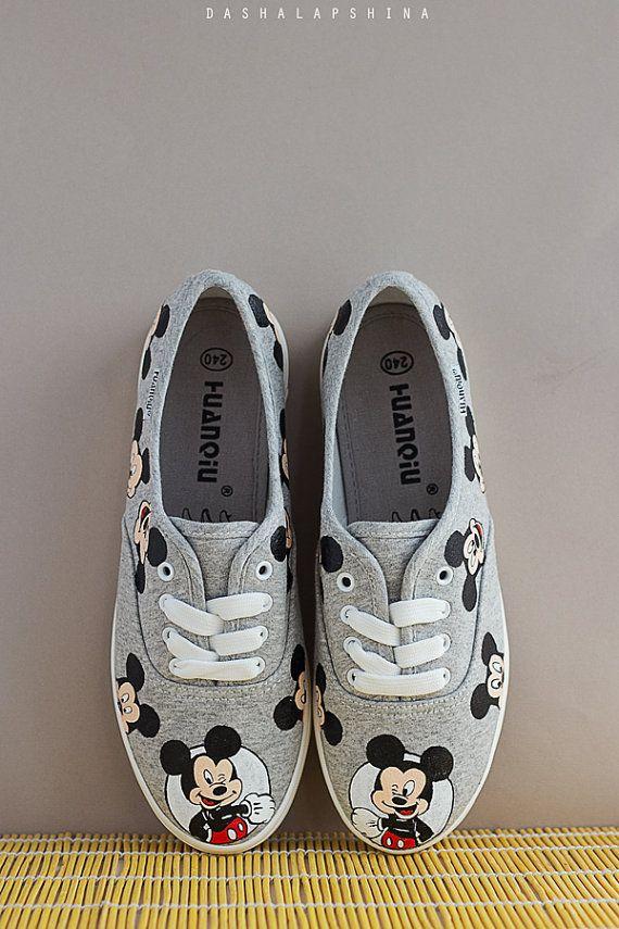 Mujer De Lona Tenis Zapatillas Disney Pintado Zapatos Gris A 6qORzpIw