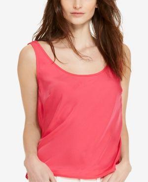 Lauren Ralph Lauren Charmeuse Tank Top - Pink Hibiscus S