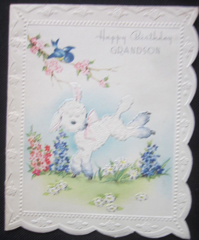 Vintage Happy Birthday Greeting Card Lamb Kicking Up Its Heels For