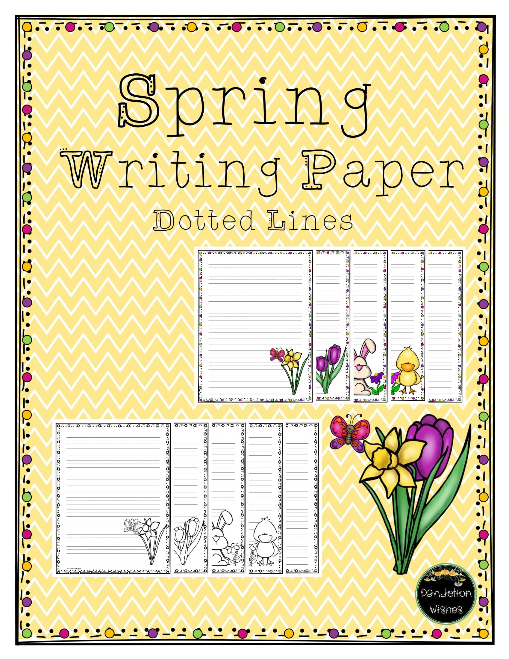 Spring Writing Prompts Amp Writing Paper With Dotted Lines