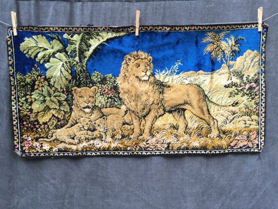 Vintage Lion's Kingdom Woven Wall Tapestry  by ElkHugsVintage