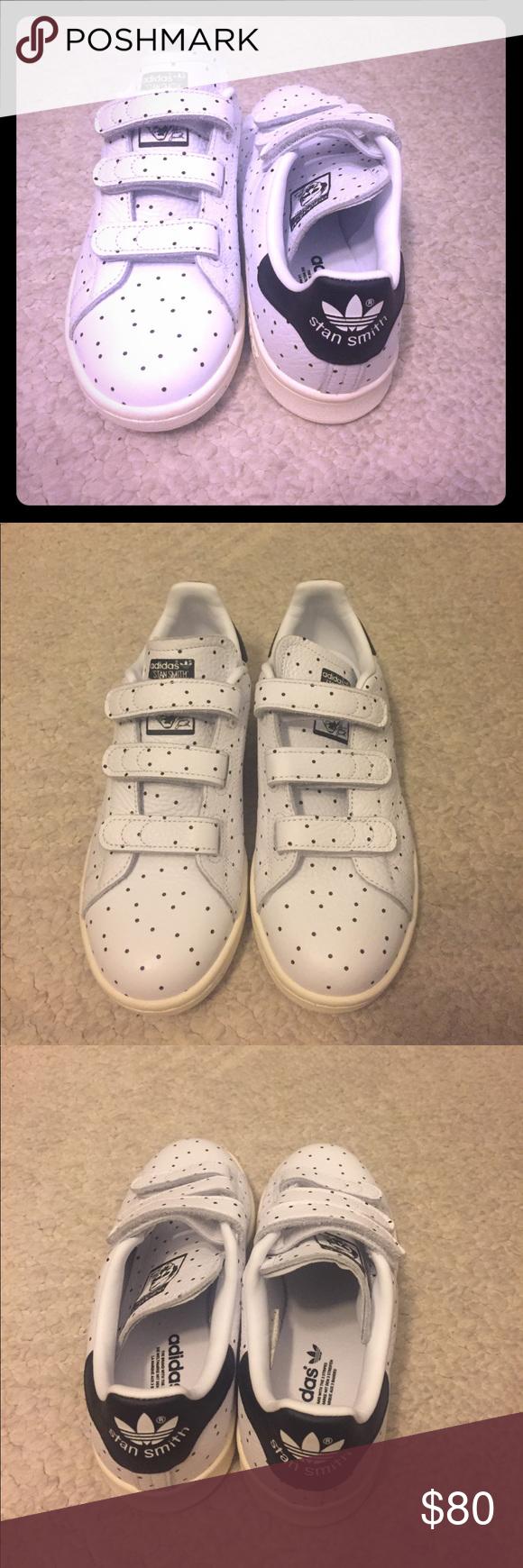 NWOT Stan Smith Velcro polka dot Adidas Size 5 but fits like