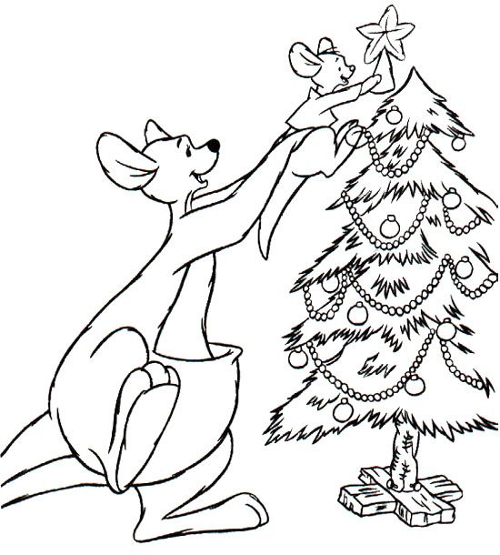 Kangaroo Decorating Christmas Tree Coloring Page