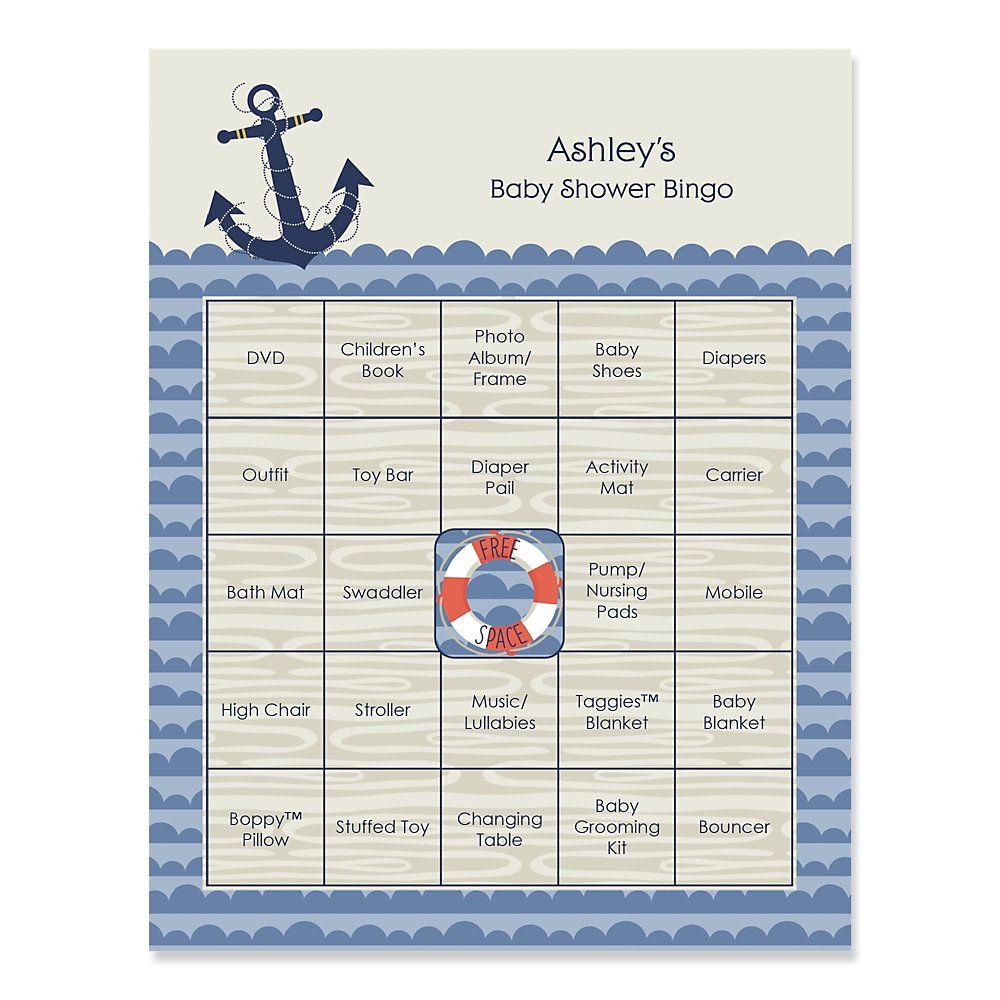Nautical Baby Shower Bingo Cards 1 000 1 000 Pixels Nautical