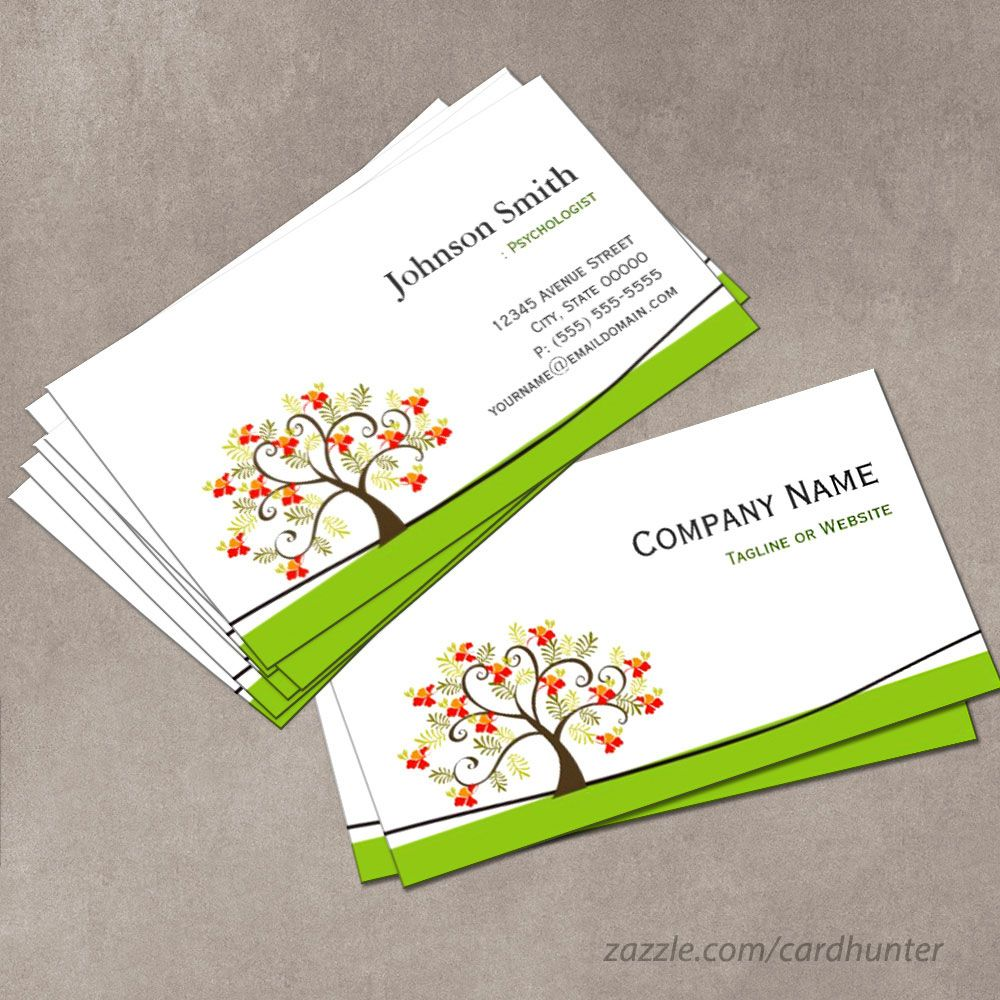 Psychologist elegant swirl wish tree symbol business for Psychology business cards