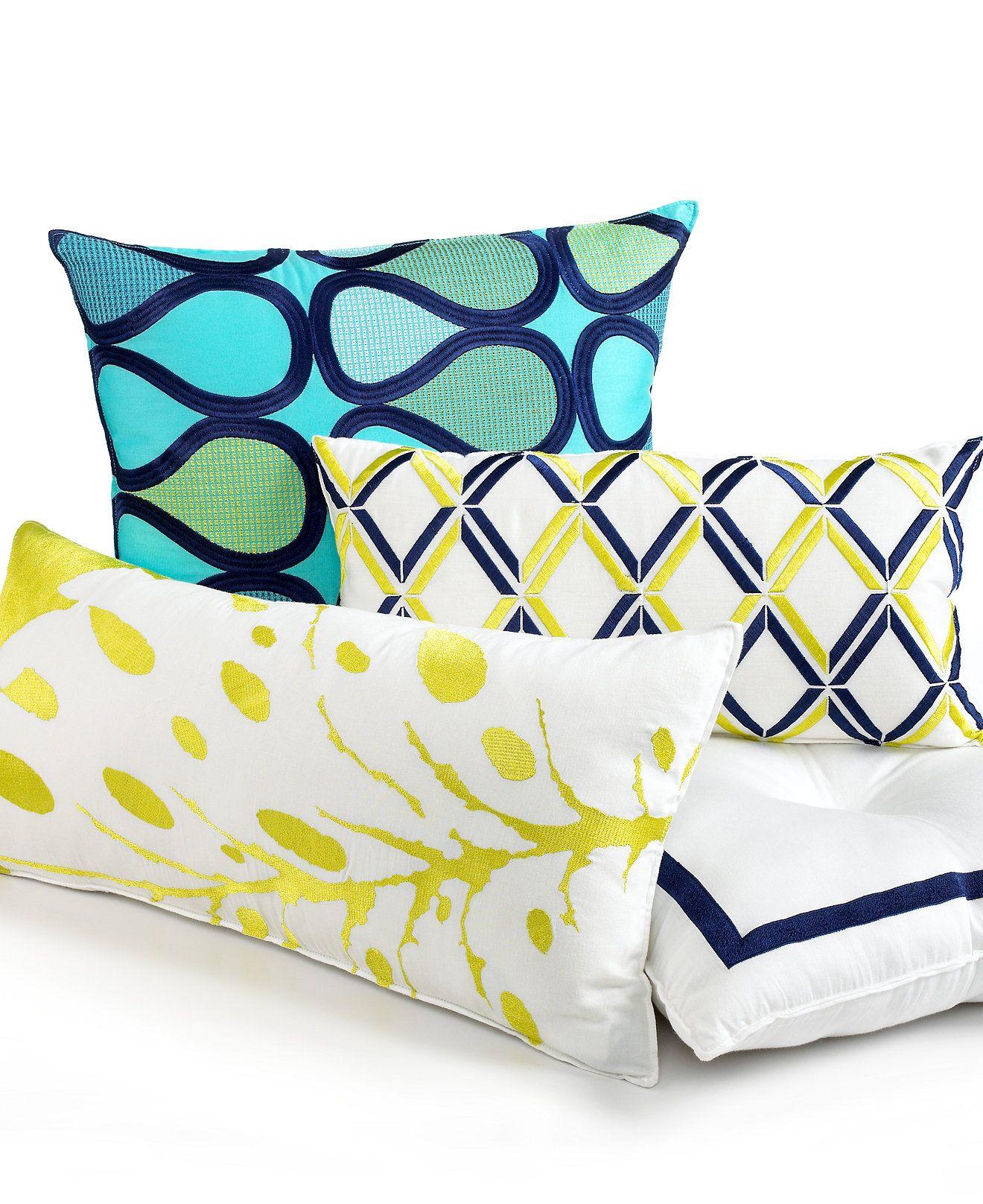 Trina Turk Bedding, Blue Peacock Decorative Pillows - Decorative ...
