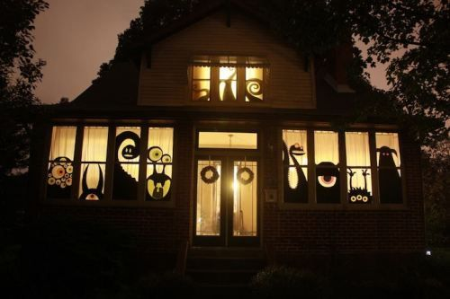 awesome halloween window decor- would work for other holidays too
