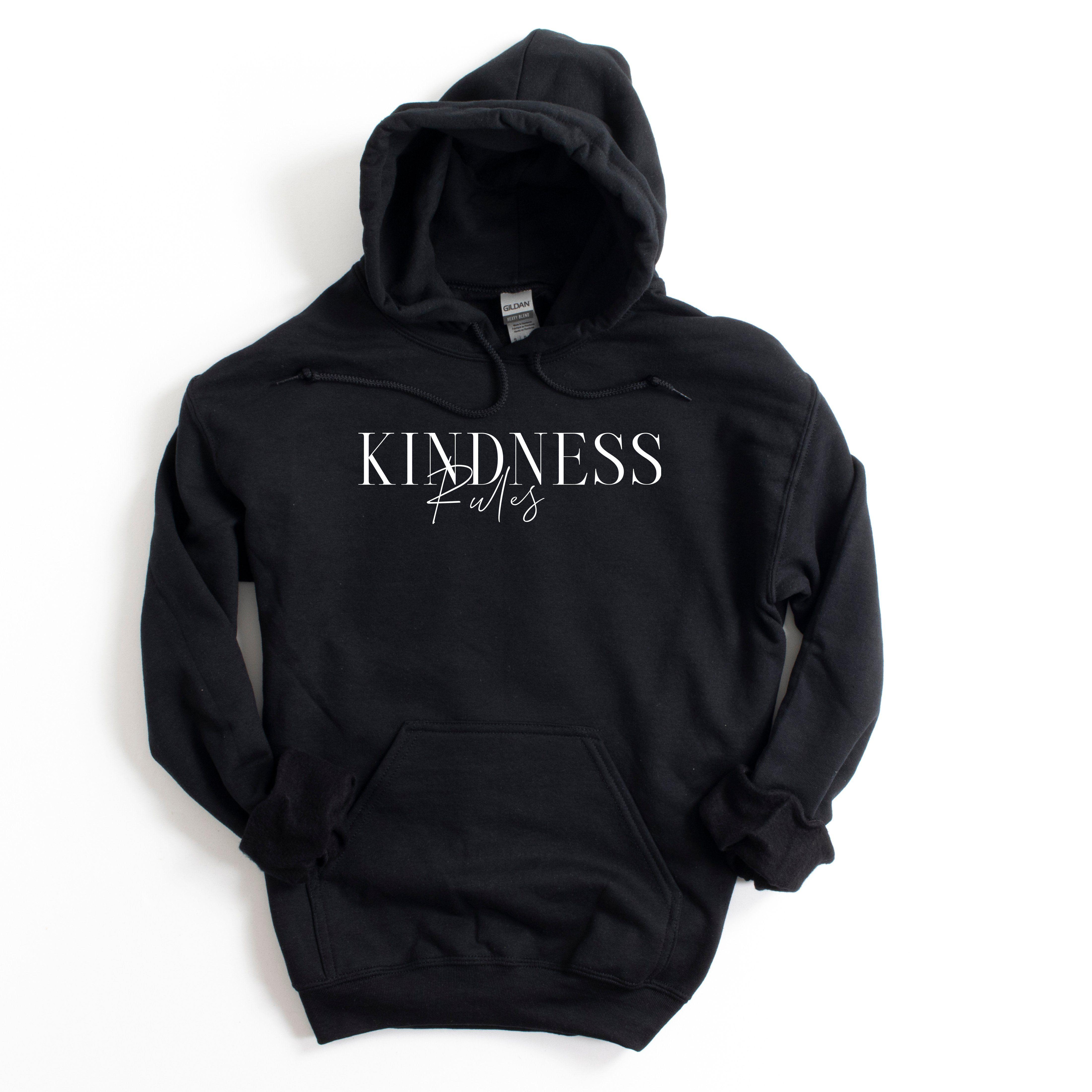 Kindness Rules Hoodie Sweatshirt - Black / S