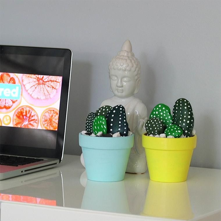 This hand-painted mini cactus totally rocks! - Shared