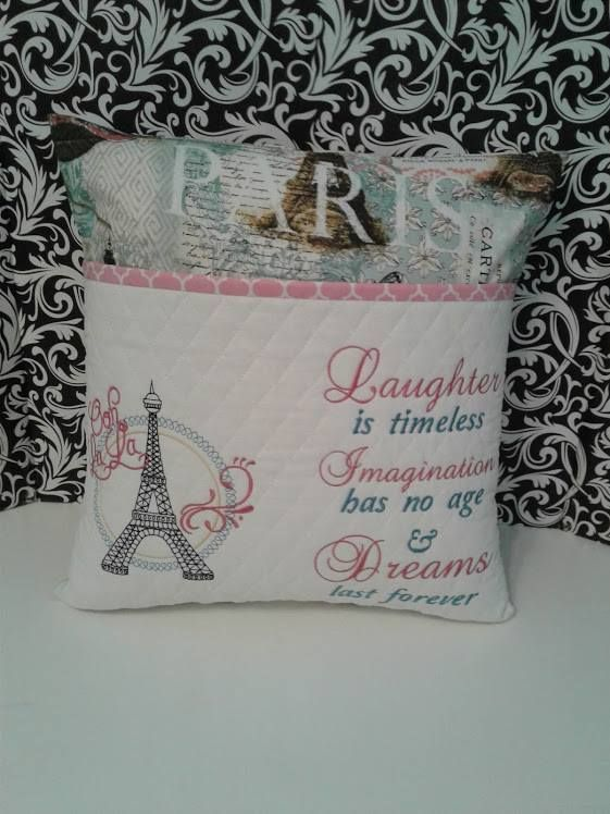 With A Dreamy Far Off Look Embroidery Pillow Design