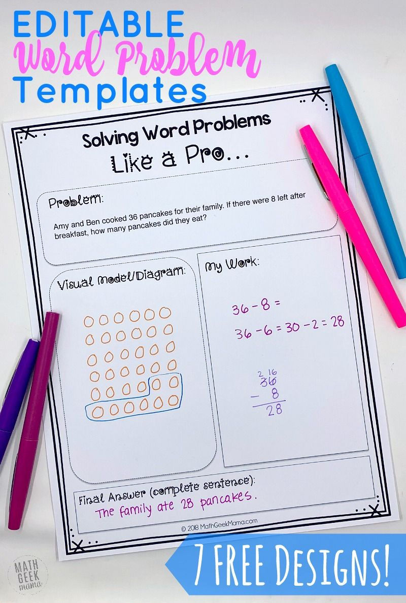 Free Editable Word Problem Templates Help Kids Make Sense Of Word Problems In 2021 Word Problems Problem Solving Template Solving Word Problems [ 1188 x 800 Pixel ]