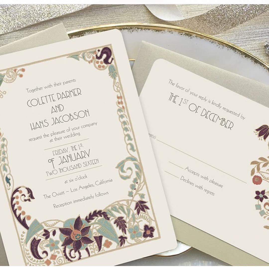 Art deco wedding invitation was inspired by great Gatsby wedding ...
