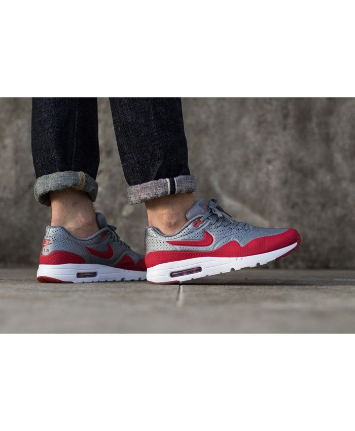 online store f082f 8bff9 Nike Air Max 1 Ultra Moire Metallic Cool Grey Gym Red Trainers