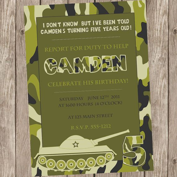 Camo Birthday Invitation Camo Birthday Tank Invitation Army Party