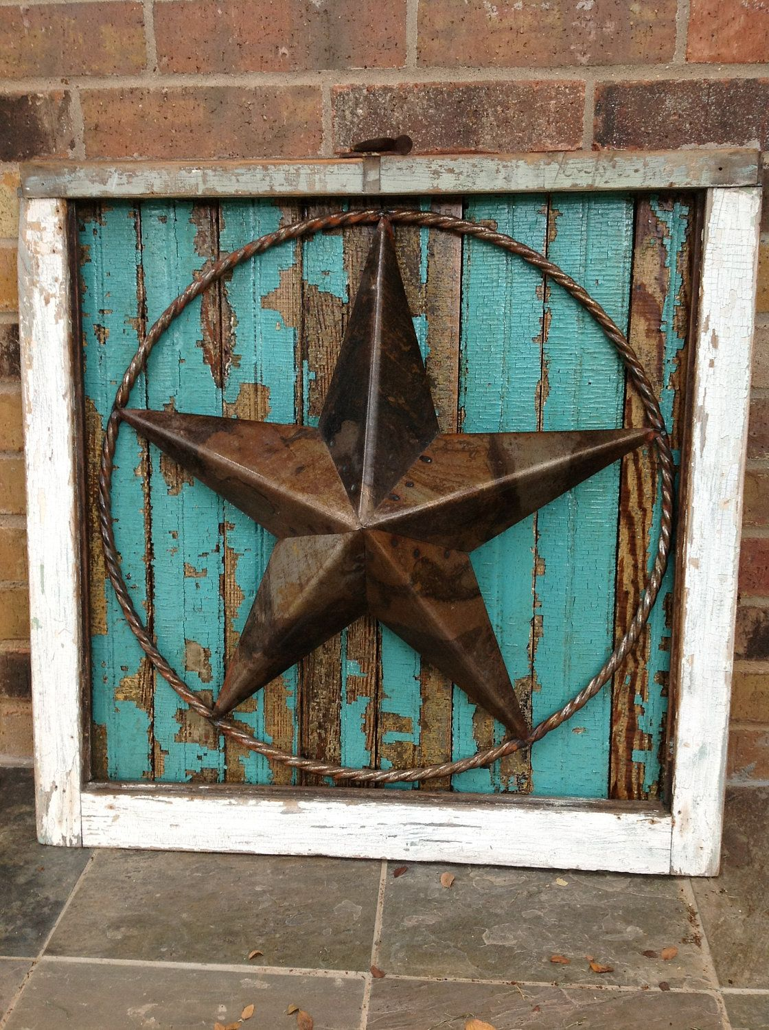 salvaged antique window frame with texas star old wood