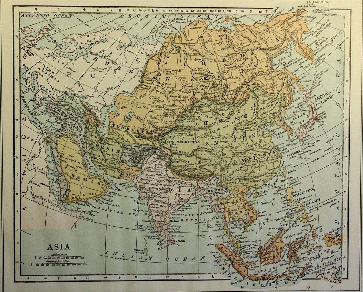 Collier map of Asia 1907 Collier map