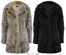 LADIES THIN STRIPE SOFT FAUX FUR WARM JACKET WOMENS WINTER LONG COAT in Clothes, Shoes & Accessories, Women's Clothing, Coats & Jackets | eBay