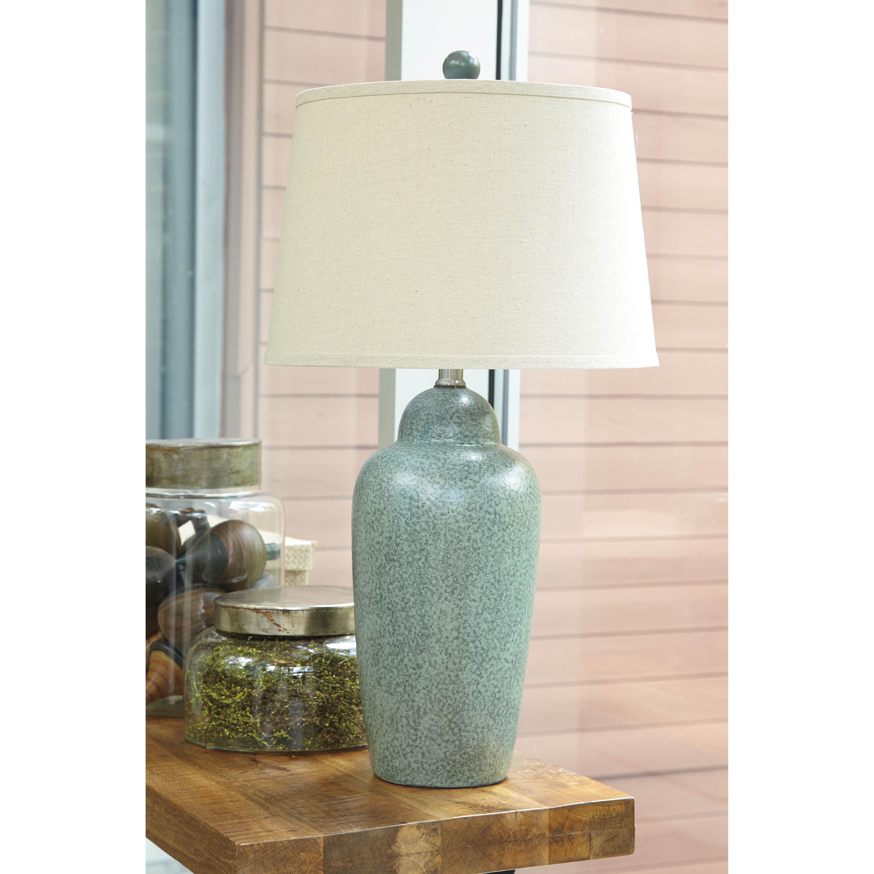 Two Tone Green Glaze Ceramic Table Lamp 3 Way Switch Type A Light Bulb