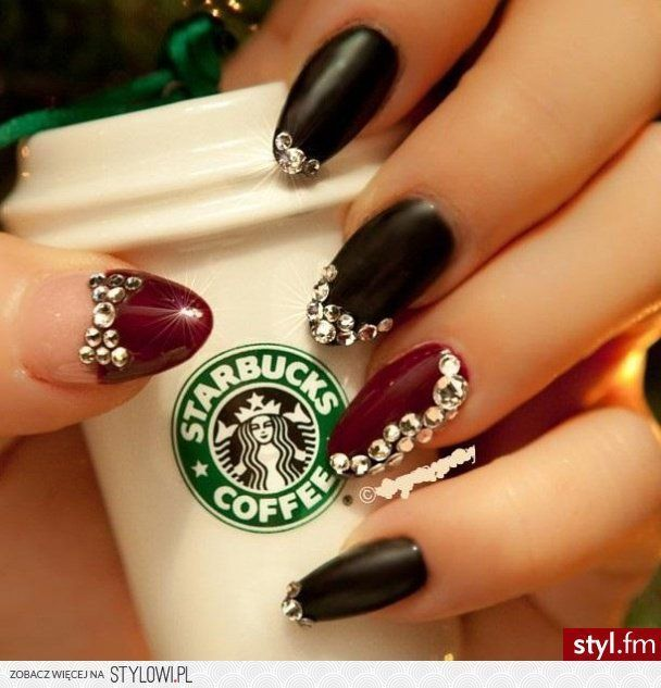 anyone else still have their Christmas Tree up? Matte black nails a try  with some added bling and a dash of burgundy for the New Year - STARBUCKS NAILS Pinterest Starbucks