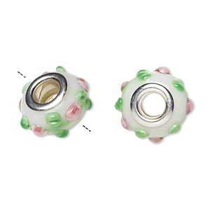 pink and green lampwork glass beads