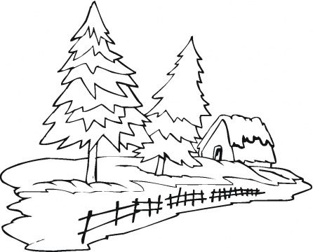 Pine Tree Outline Clip Art Two Pine Trees And House Tree
