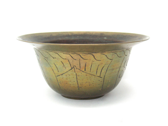 Brass Bowl China Engraved Chinese Brass by FindingMaineVintage, $49.00