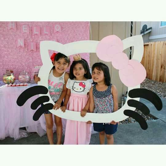 Photo booth frame Hello Kitty pink ideas party hellokitty girl