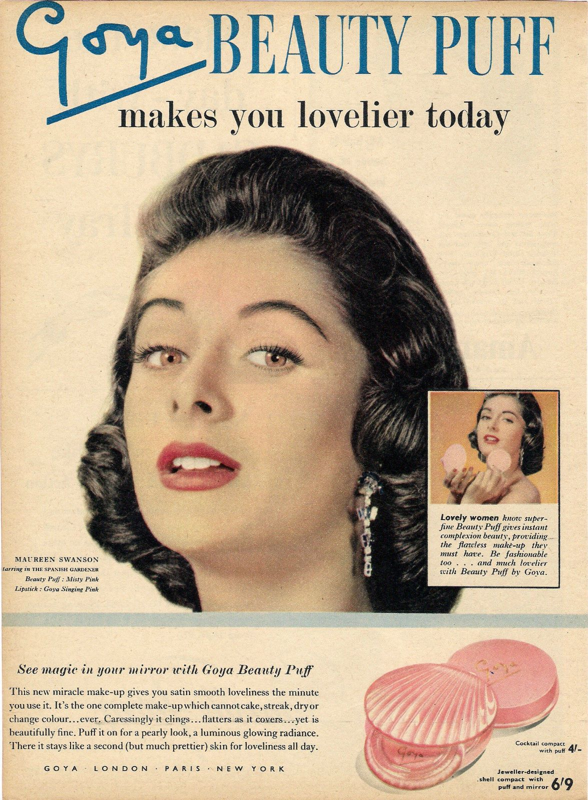 Goya 'Beauty Puff' Ad, 1950's Vintage makeup ads