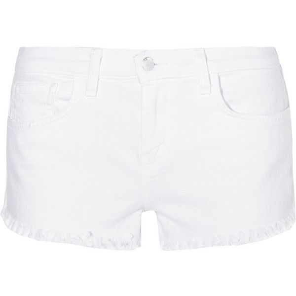 L'Agence Zoe frayed stretch-denim shorts (555 BRL) ❤ liked on Polyvore featuring shorts, white, l agence shorts, stretch denim shorts, white shorts, white frayed shorts and frayed shorts