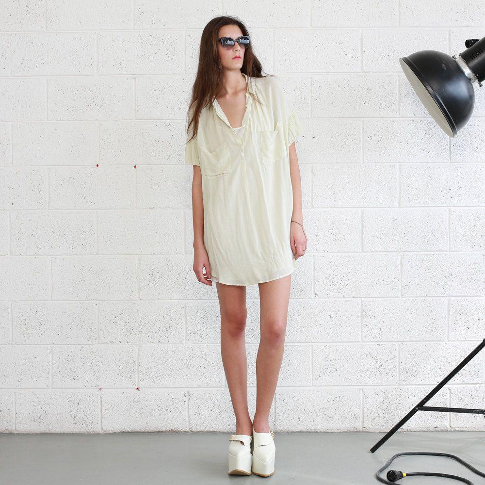 Ivory Pocket Dress- Ivory Knee Length Summer Dress. $124.00, via Etsy.