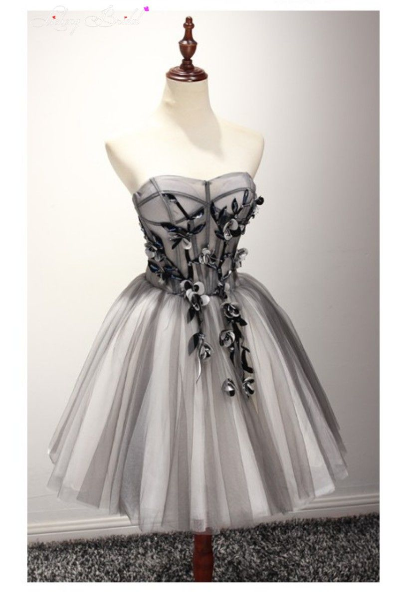 black sweetheart prom dress short tulle floral new design cocktail ...