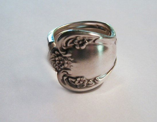 Spoon Ring Recycled  Silverware Jewelry Floral by LTCreatesJewelry, $15.00