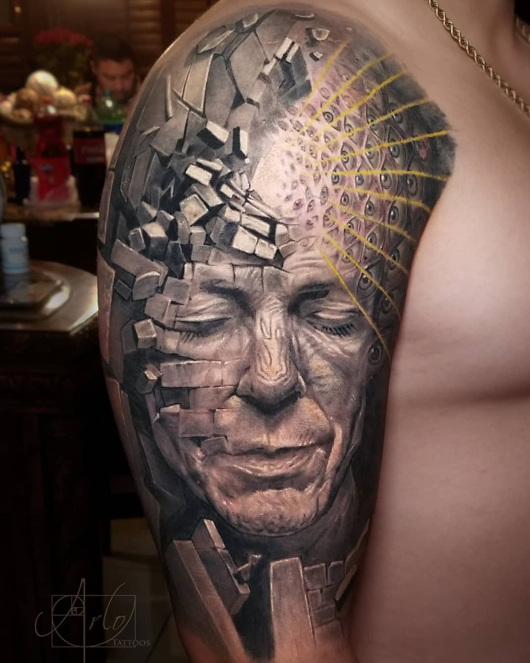 Follow Tattoowonderland On Pinterest For More Crazy Alex Grey Portrait Tattoo Tattoos For Guys Surreal Tattoo Tattoos