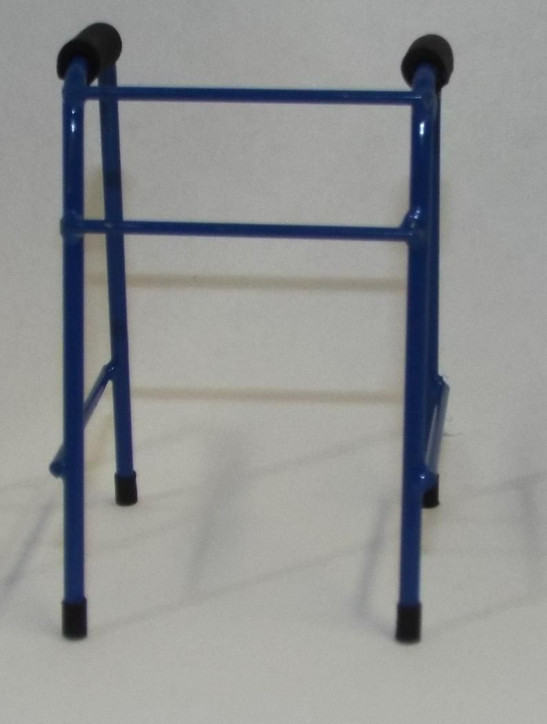 Dollhouse miniature handcrafted Medical walker metal 1/12th scale Blue