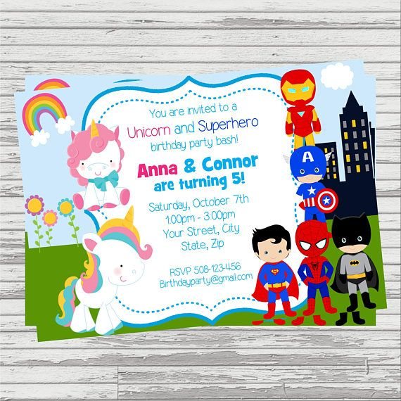 unicorn and superheroes twins joint party custom digital birthday