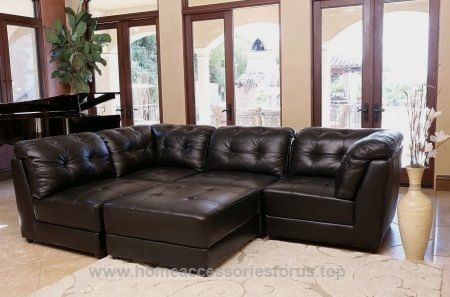 Abbyson Living Donovan 5 Piece Modular Leather Sectional Sofa Black Now 3 714 76 Crafted