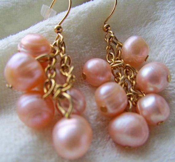 Pink pearl - cluster dangle earrings | Pearls | Pinterest ...