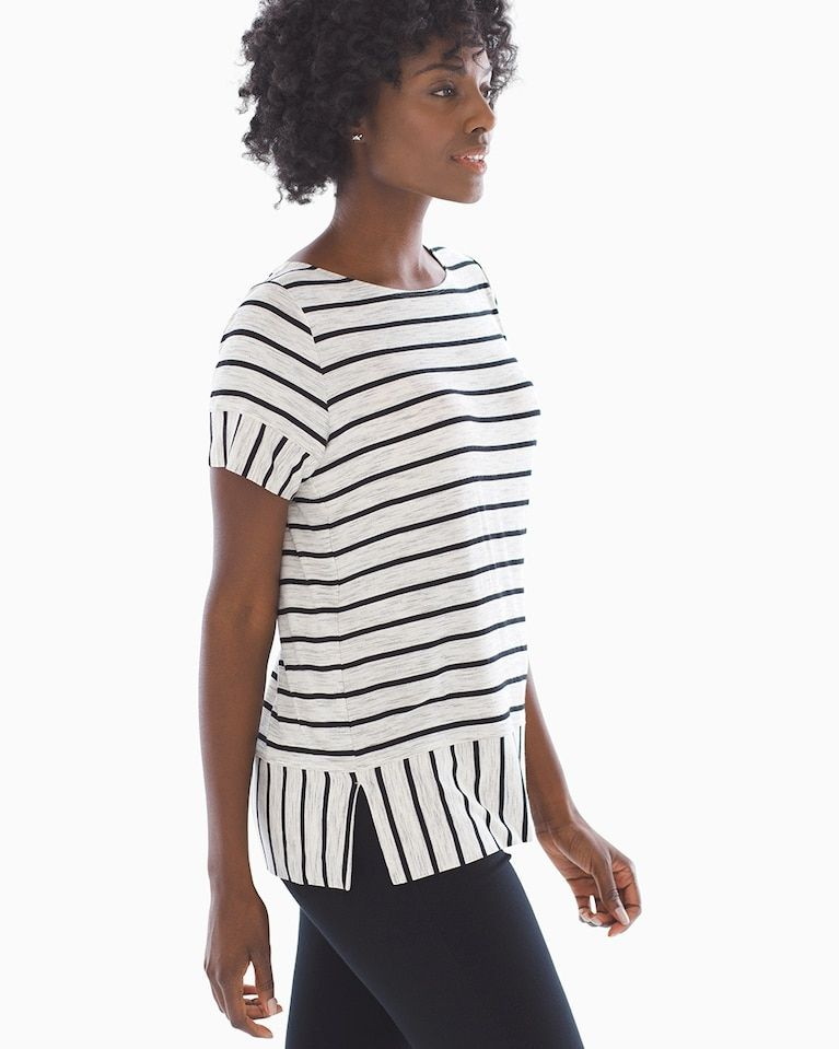 0ccf7daa6eb Soma Soft Jersey Short Sleeve Boatneck Top Quiet Stripe Heather Marble