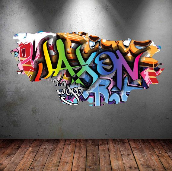 Personalised Graffiti Name Wall Decals Full Colour Wall Art Sticker Transfer Print Girls Boys Bedroom Personalized Wall Decals Sticker Art Personalized Decals