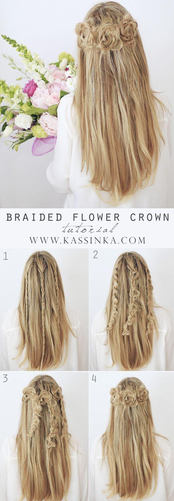 Braided flower crown wedding hair tutorial / http://www.himisspuff ...
