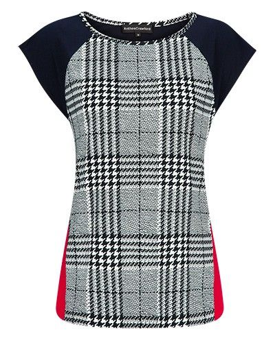 HOUNDSTOOTH STRETCH JERSEY SPLICE TOP - Style Number: MW98714
