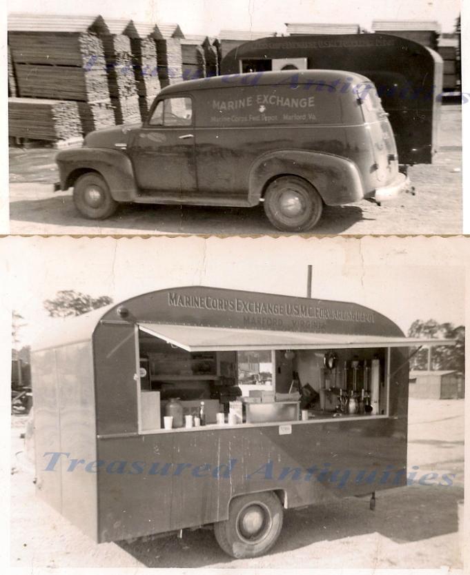1940s Usmc Marine 1947 Chevy Panel Truck Travel Trailer Roach Coach Px Photo 2 Mit Bildern