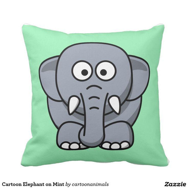Cartoon Elephant on Mint Throw Pillow