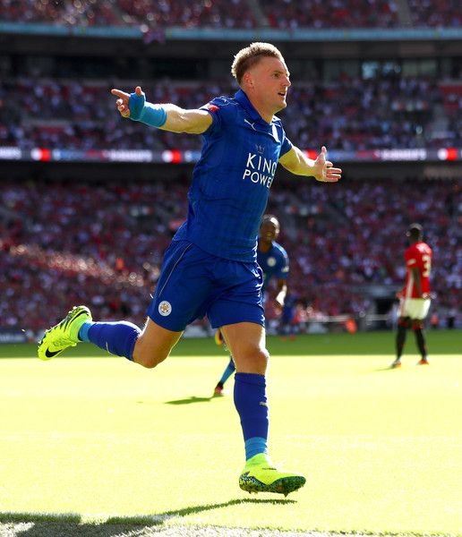 Jamie Vardy of Leicester City celebrates after scoring his sides first goal during The FA Community Shield match between Leicester City and…