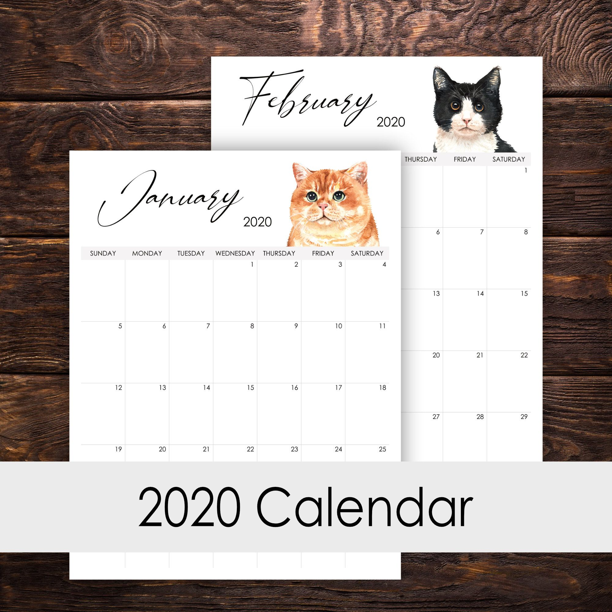 2020 Calendar Printable 12 Months Vertical Layout
