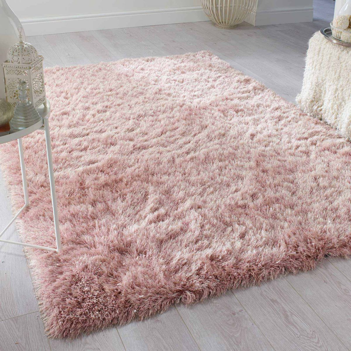 Dusky Pink Shaggy Rugs With Silver Glitter Yarn Pink Rugs Bedroom Pink Rug Blush Pink Bedroom