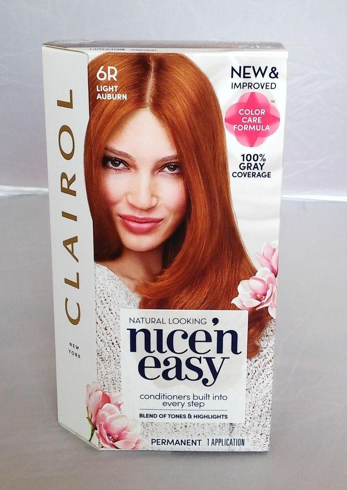Clairol Nice N Easy 6r Light Auburn Red Hair Color Dye Clairol